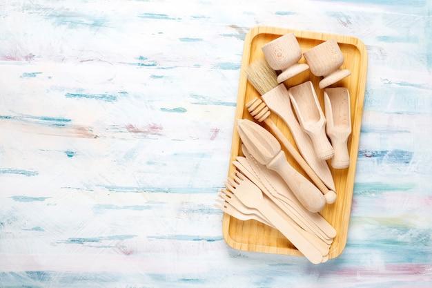 Set houten keukengerei, bovenaanzicht