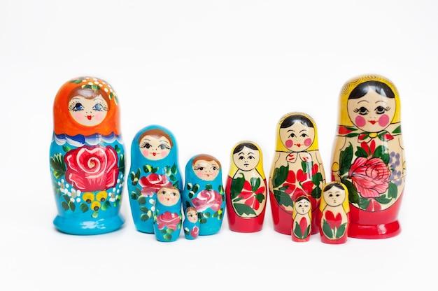 Set houten russische poppetjes van 10 stuks