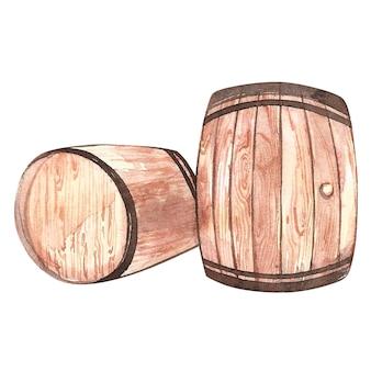 Set houten vaten, schets stijl aquarel illustraties geïsoleerd op wit