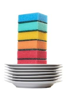 Set kleursponzen voor het wassen en witte vaat