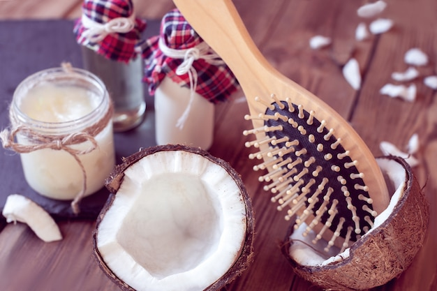 Set kokosproducten voor haarverzorging