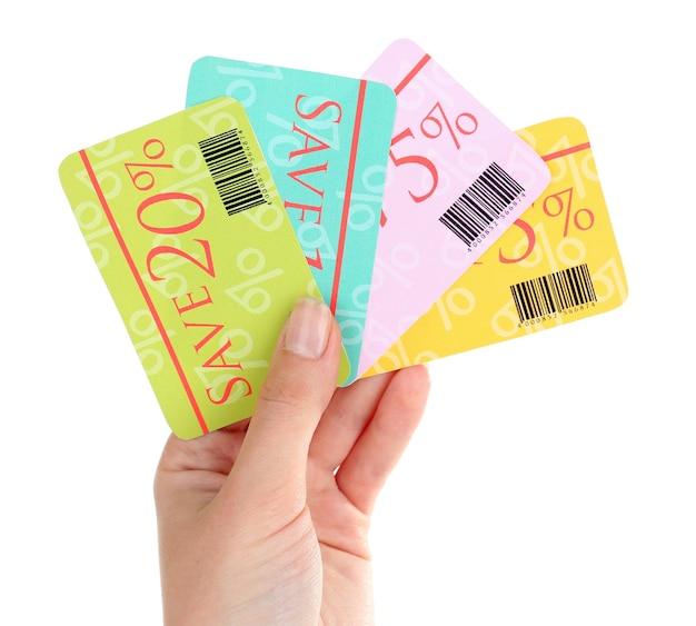 Set kortingsbonnen om te winkelen om geld te besparen