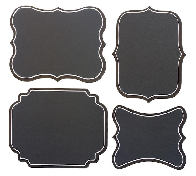 Set lege zwarte bord vintage tags geïsoleerd op een witte achtergrond