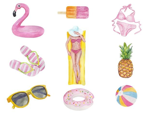 Set leuke zomervakantie objecten zwembroek flamingo zonnebrandcrème ijs meisje bril en flip flo...