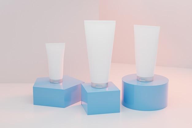 Set lotionbuisflessen voor cosmetica-producten op blauwe podia, 3d illustratie render