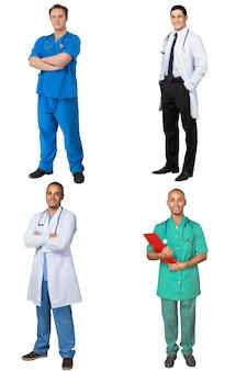 Set mannelijke gelukkige artsen in jassen