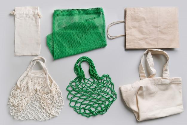 Set milieuvriendelijke herbruikbare boodschappentassen