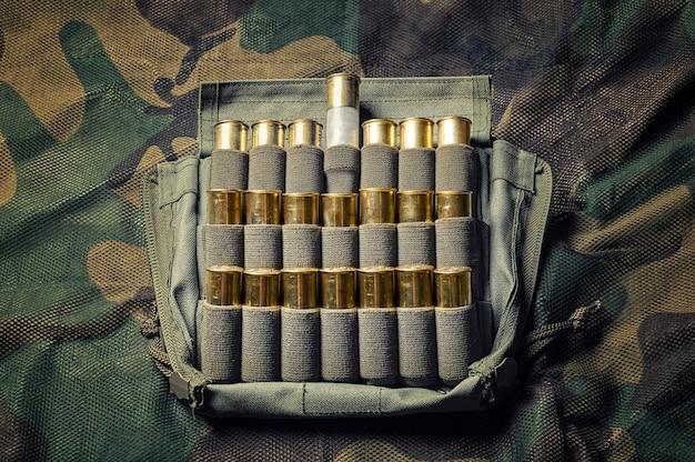 Set patronen voor een jachtgeweer. een cartridge is hoger dan de rest in de behuizing. bovenaanzicht.