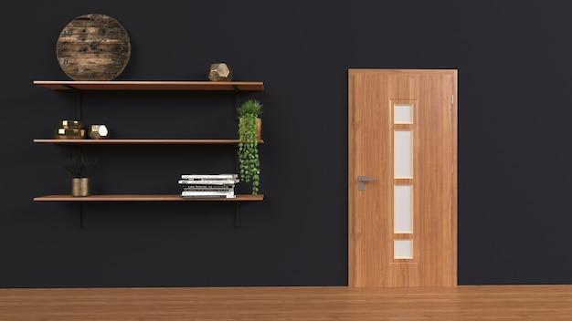 Set planken geïsoleerd op zwarte muur