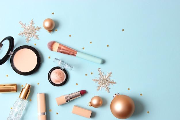 Set professionele decoratieve cosmetica en kerstaccessoires