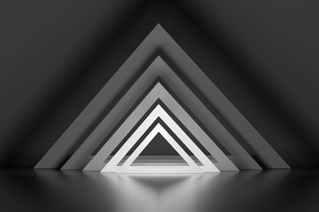 Set rij van vele driehoeken met gloei-effect over spiegelvloer