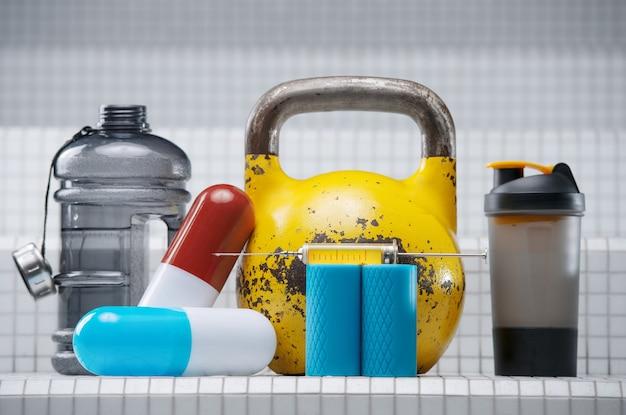 Set sportaccessoires. gele kettlebell met pillen, shaker, spuit, injector, steroïden, medicijnen en waterfles op witte achtergrond. sport en geneeskunde concept