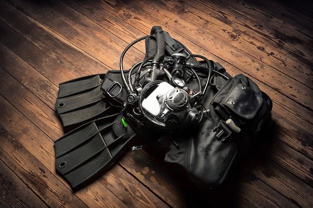 Set uitrusting om te duiken. het concept van sport, recreatie, reizen.