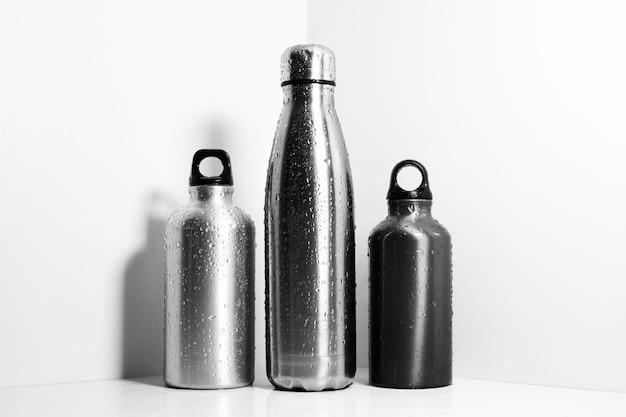 Set van aluminium en stalen, herbruikbare thermoflessen gespoten