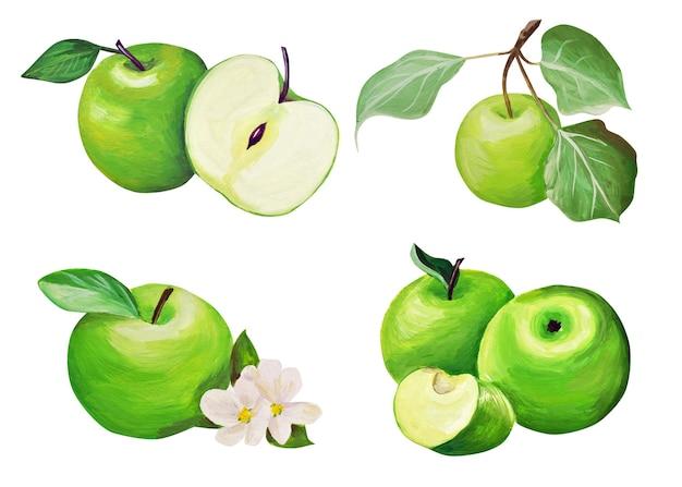Set van appels. handtekening. delicaat fruit wordt in een realistische stijl getekend en geïsoleerd met gouache.