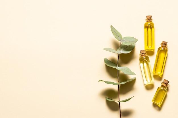 Set van biologische etherische oliën en verse aromatische eucalyptusbladeren