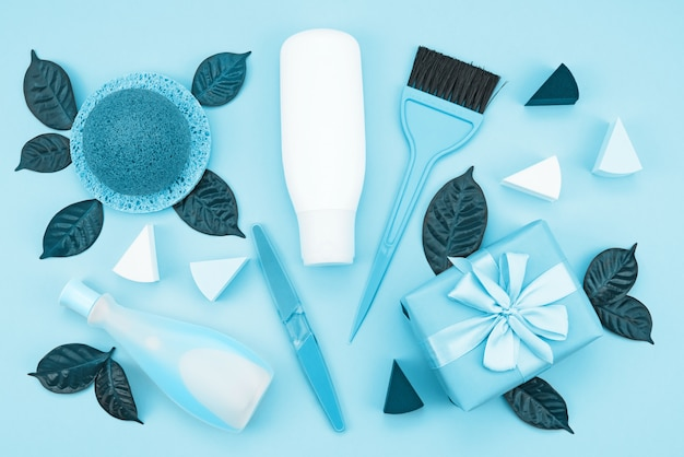 Set van cosmetica voor het lichaam, afgezwakt afbeelding blauw