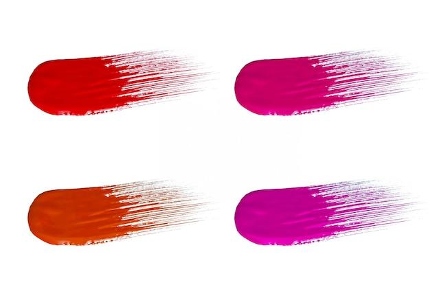 Set van cosmetische monsters slagen, rode lippenstift gewaagde kleurenslag