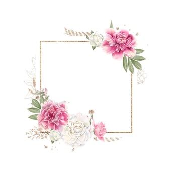 Set van delicate rode en witte pioenrozen en gouden frames aquarel illustratie