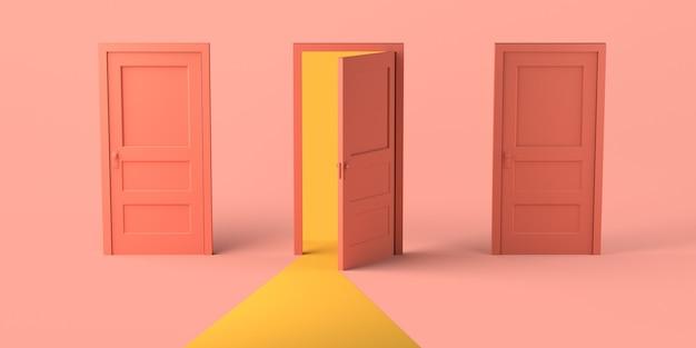 Set van drie deuren waarvan één open. ruimte kopiëren. 3d illustratie.