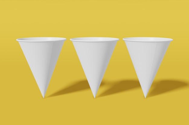 Set van drie witte papieren mockup cups kegelvormig op een gele achtergrond. 3d-weergave