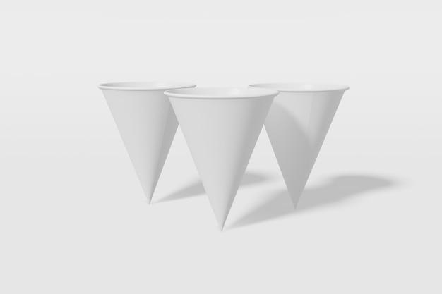 Set van drie witte papieren mockup cups kegelvormig op een witte achtergrond. 3d-weergave