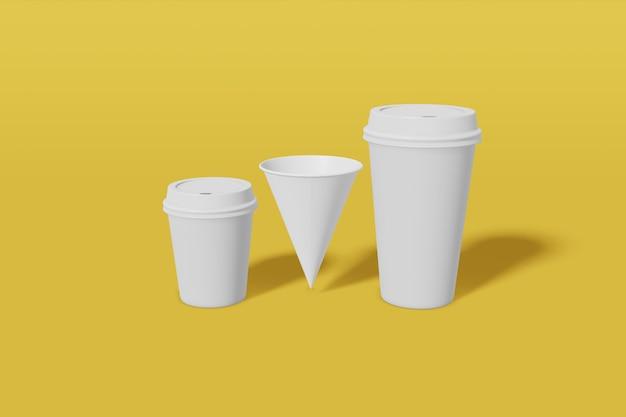 Set van drie witte papieren mockup cups van verschillende formaten - groot, klein en kegelvormig op een gele achtergrond. 3d-weergave