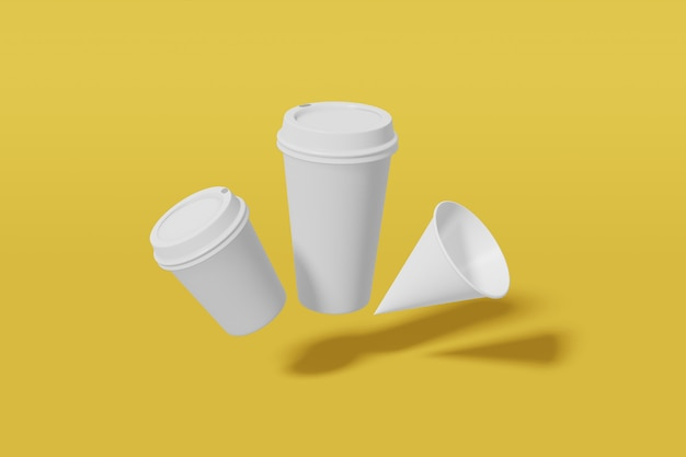 Set van drie witte papieren mockup cups van verschillende formaten - grote, kleine en kegelvormige vlieg op een gele achtergrond. 3d-weergave