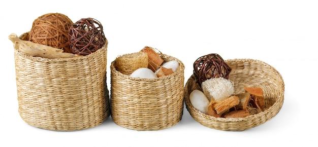 Set van droge herfst planten en bladeren, gedroogde bloemblaadjes en bloemen, eenvoudige rustieke takken en tarwe bos op wit