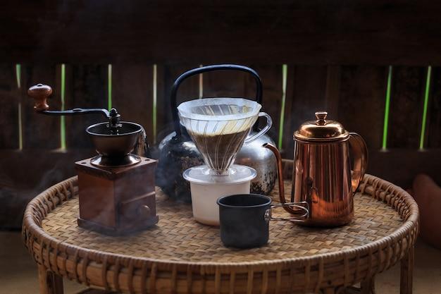 Set van druppels koffie, koffie maken