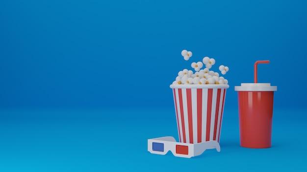 Set van film. popcorn, 3d-bril met wegwerpbeker voor geïsoleerde dranken. concept bioscooptheater. 3d rendering illustratie.