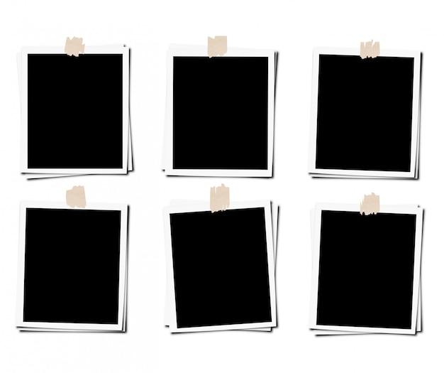 Set van fotolijstjes met tape, geïsoleerd