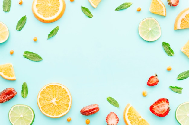 Set van fruit, zaden en bladeren