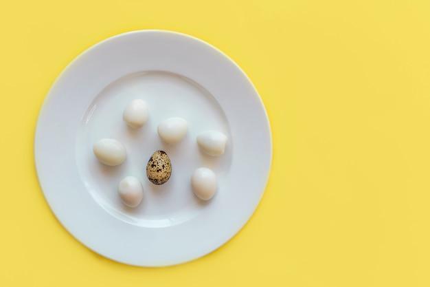 Set van geschilde en een alleen verse ongeschilde organische kleine kleine gekookte kwarteleitjes op witte plaat bovenaanzicht, kopie ruimte. gezond eiwit vers natuurlijk voedsel. natuurlijke gastronomische maaltijd.