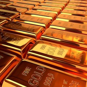 Set van goud blokken. 3d illustratie, render