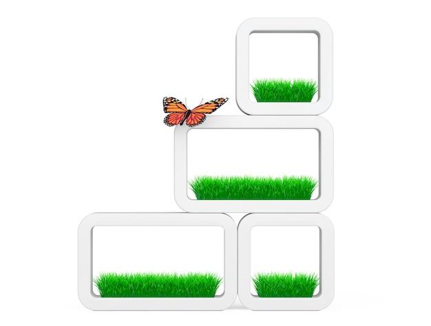 Set van gras in witte keramiek plantenbakken met vlinder op een witte achtergrond. 3d-rendering