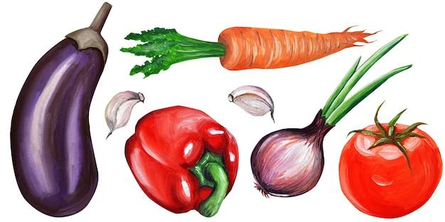 Set van groenten, aquarel illustratie.