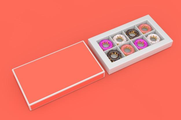 Set van grote geglazuurde donuts in roze papieren doos met vrije ruimte voor uw ontwerp op een roze achtergrond. 3d-rendering