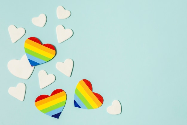 Set van harten in regenboogkleuren
