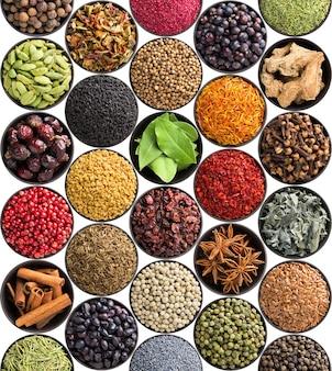 Set van indiase specerijen en kruiden geïsoleerd op een witte achtergrond