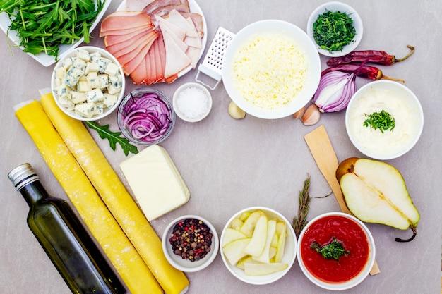 Set van ingrediënten voor quiche