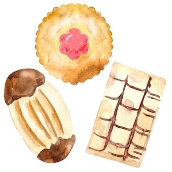 Set van jam koekje, zandkoek en cracker