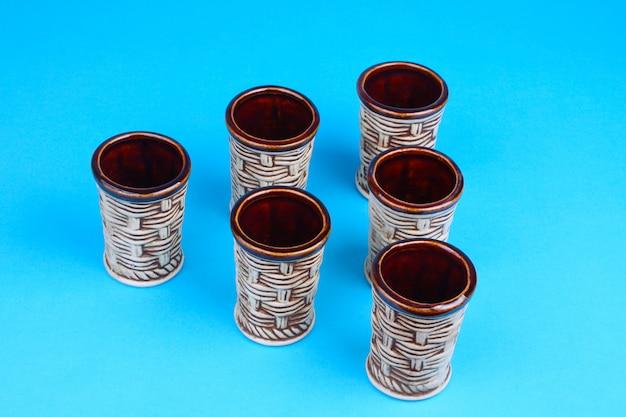Set van keramische wijnglazen