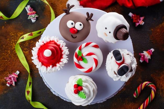 Set van kerstmis cupcakes