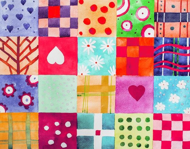 Set van kleurrijke aquarel prints