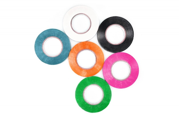 Set van kleverige kleurrijke elektrische beveiligingstape.