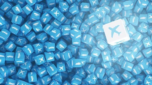 Set van kubussen met logo's van voertuigen op hen getekend