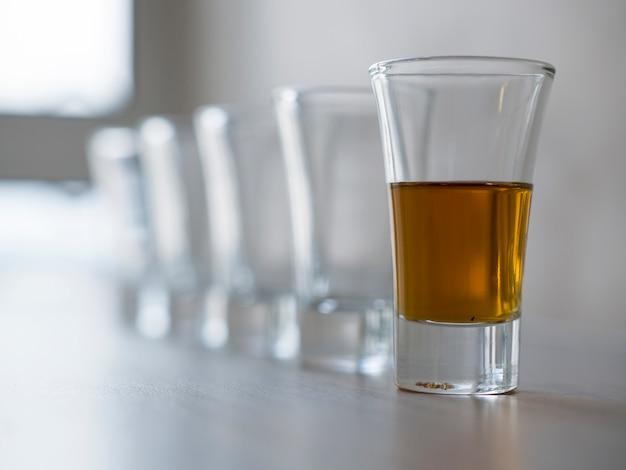 Set van lege drankglazen