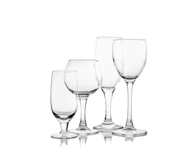 Set van lege wijnglazen