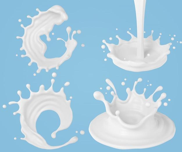Set van melk rimpel splash